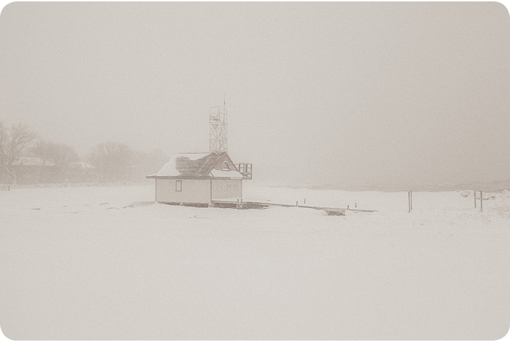 2013 storm lifeguard station in winter