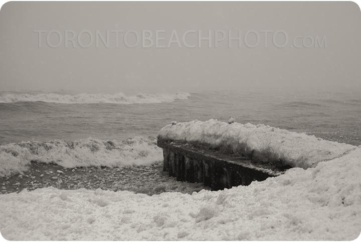 toronto beaches pier winter storm